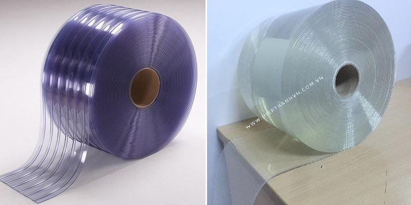 Màn nhựa PVC xanh biển có gân và màn nhựa PVC trong suốt không có gân