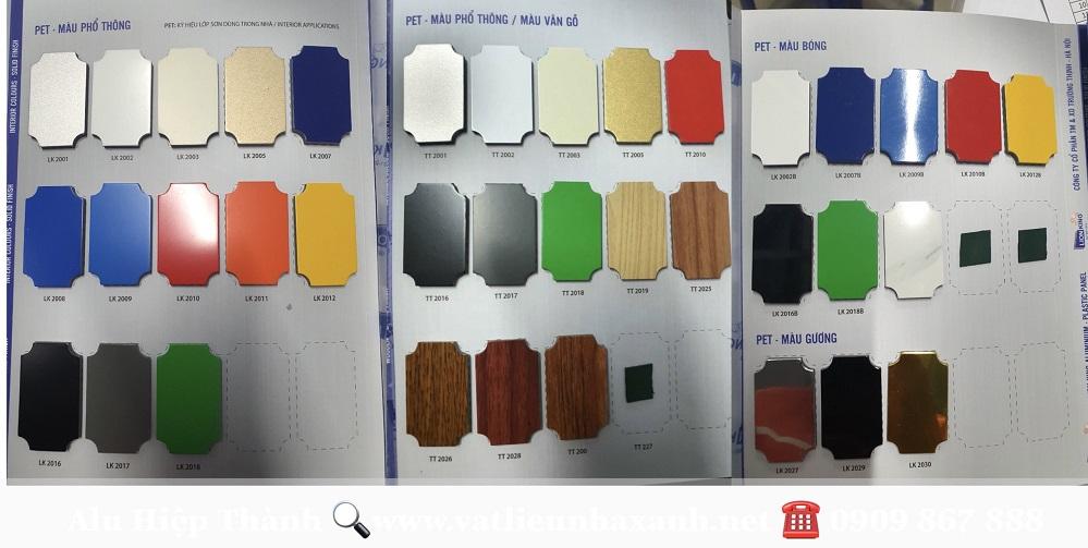 Bảng màu tấm nhôm nhựa Alu giá rẻ đầy đủ màu sắc