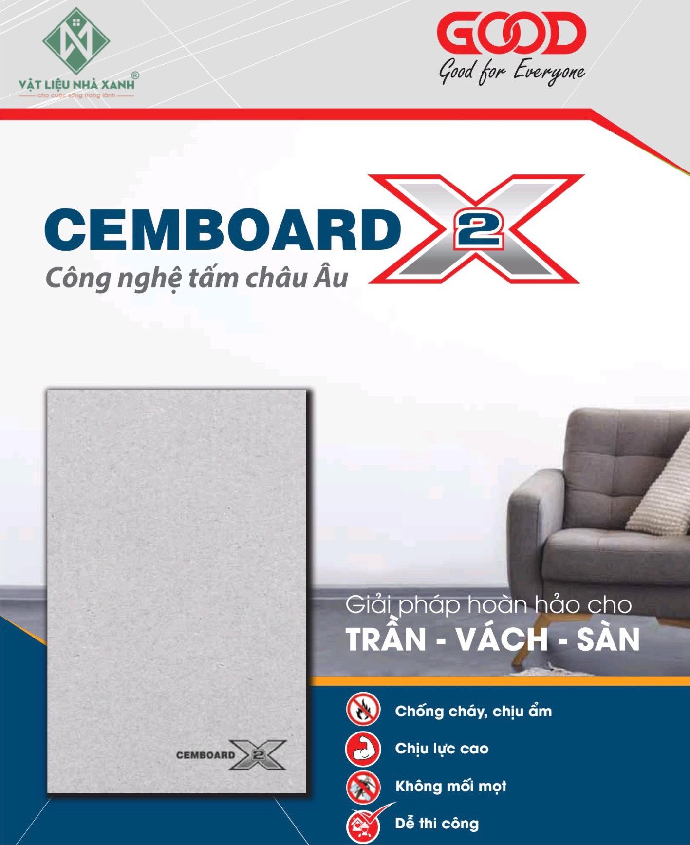 Tấm Xi Măng Cemboard X2 cao cấp giá rẻ với nhiều ưu điểm