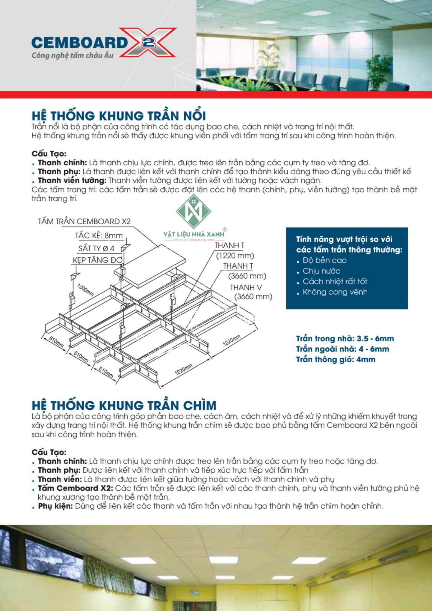 Tấm Xi Măng cho hệ thống khung trần nổi
